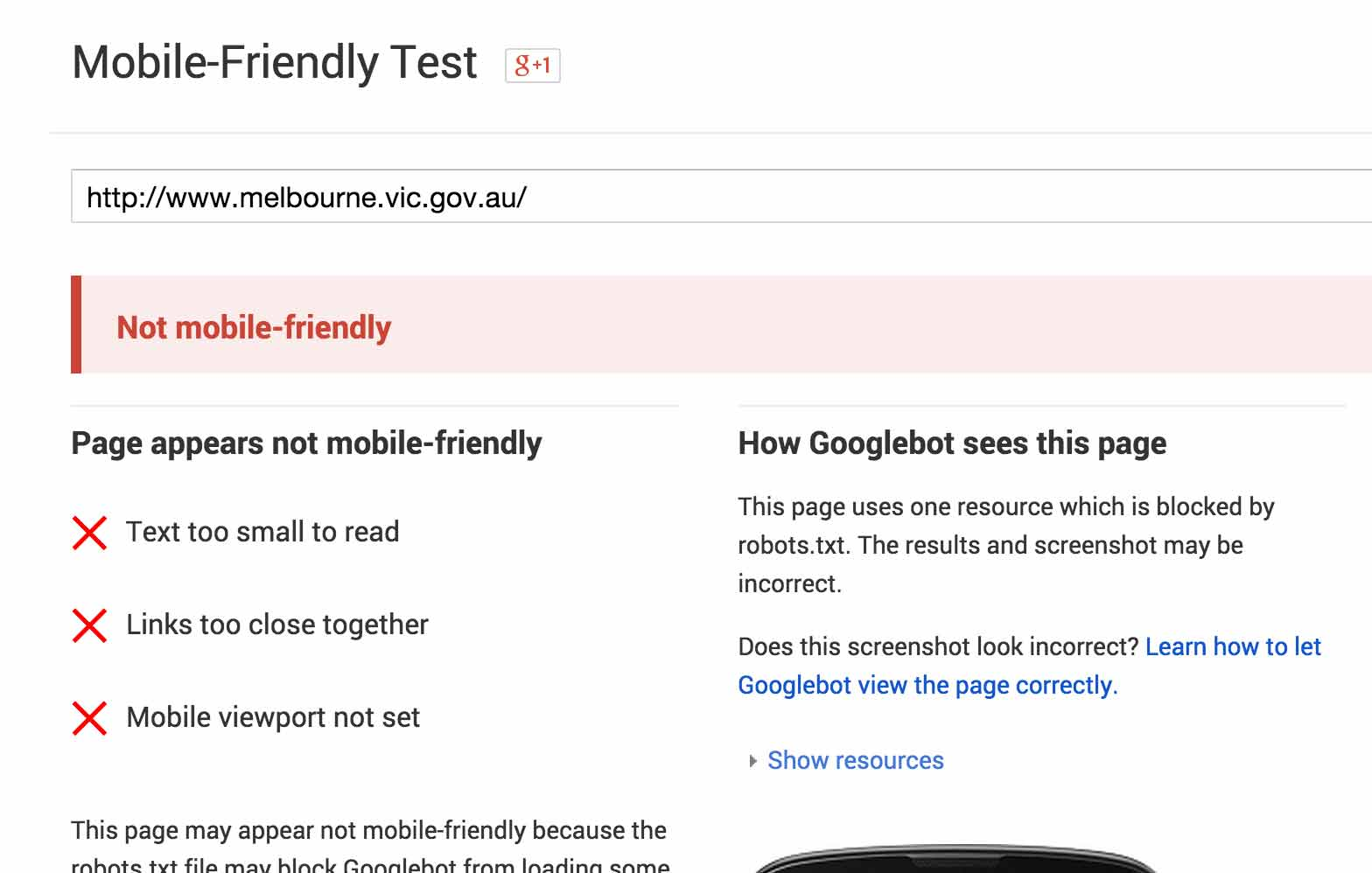 A screenshot of Melbourne's website failing the Google Mobile-Friendly Test