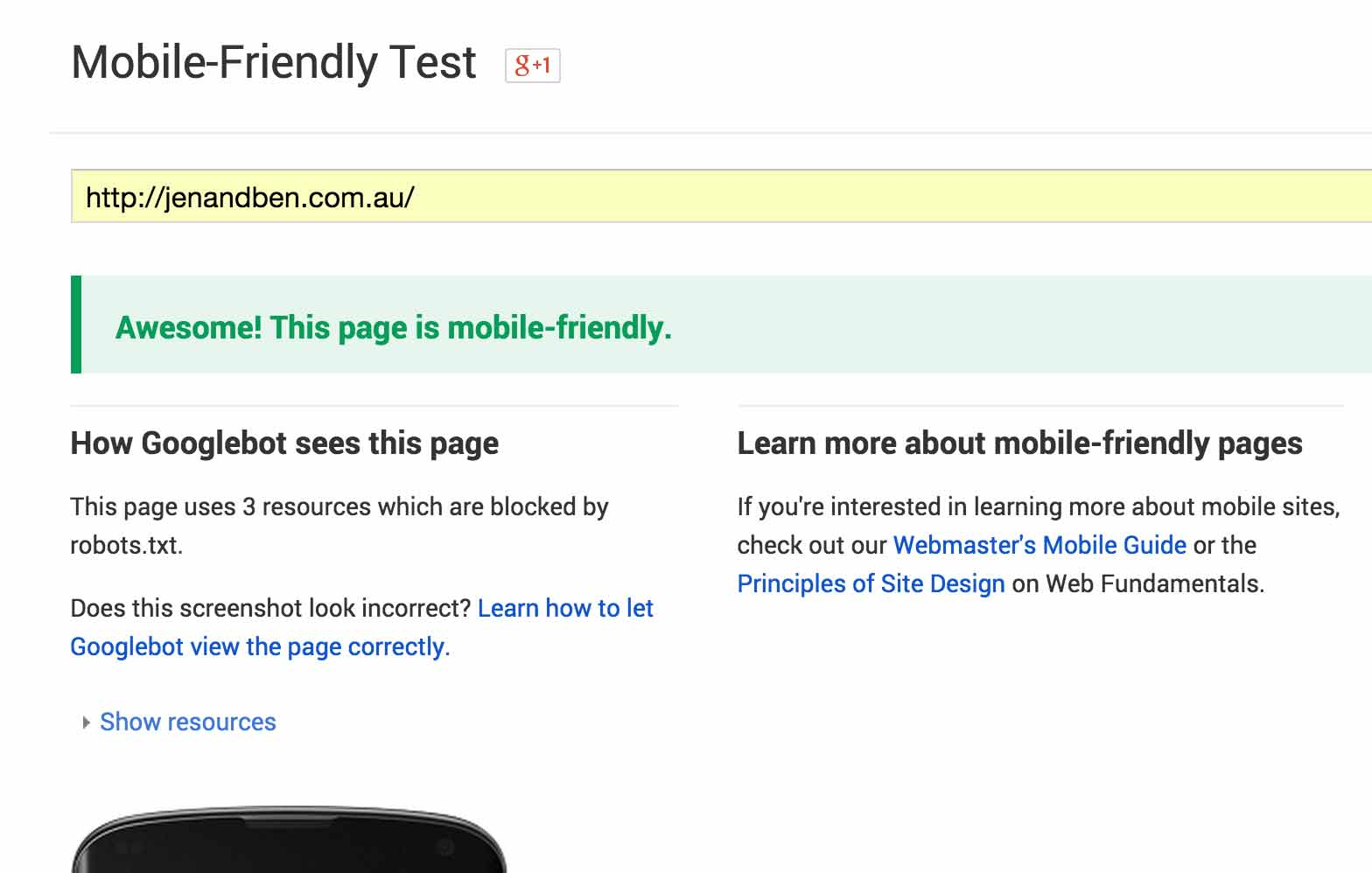A screenshot of Jen & Ben Design's website passing the Google Mobile-Friendly Test