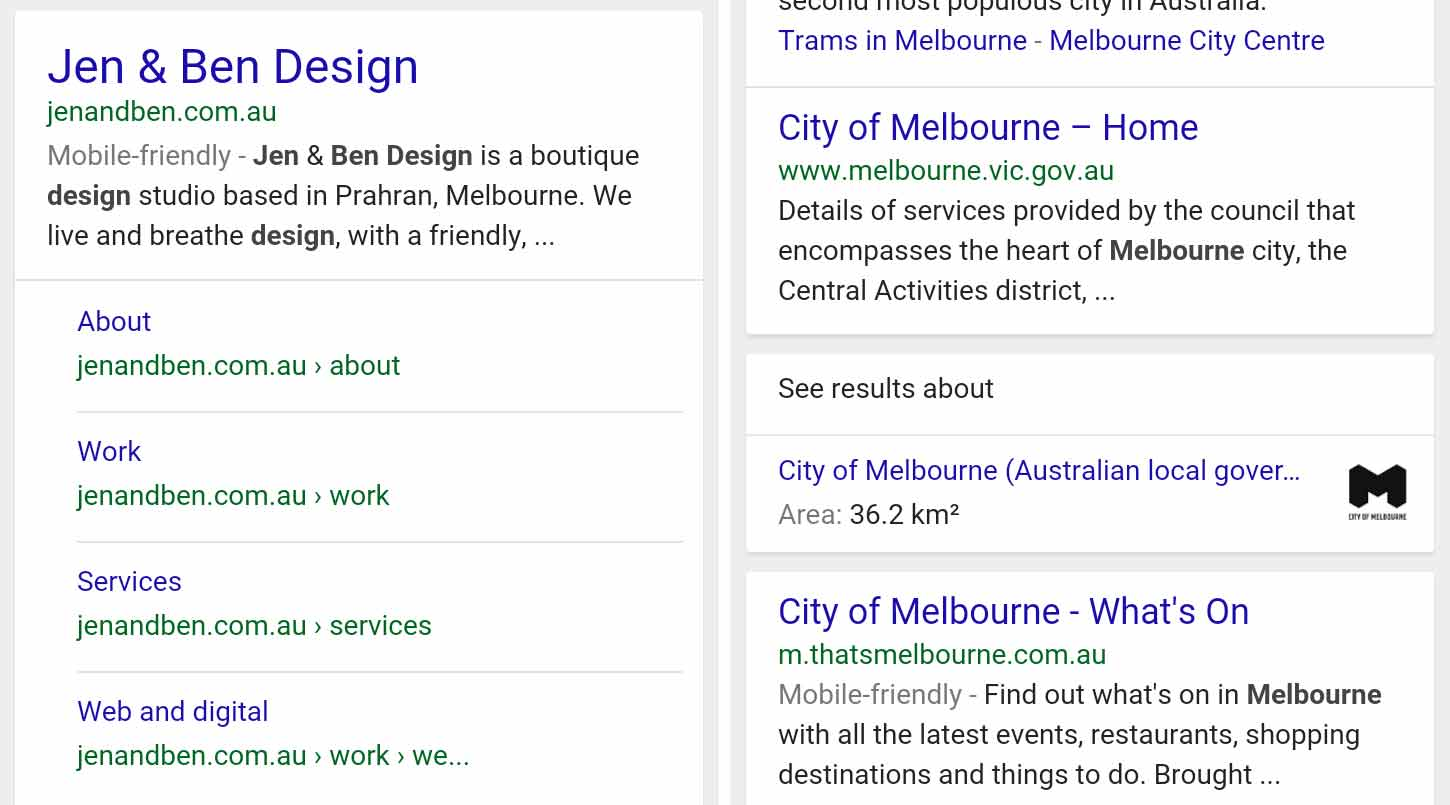 Jen & Ben Design's mobile-friendly search result vs. Melbourne's non-mobile-friendly result