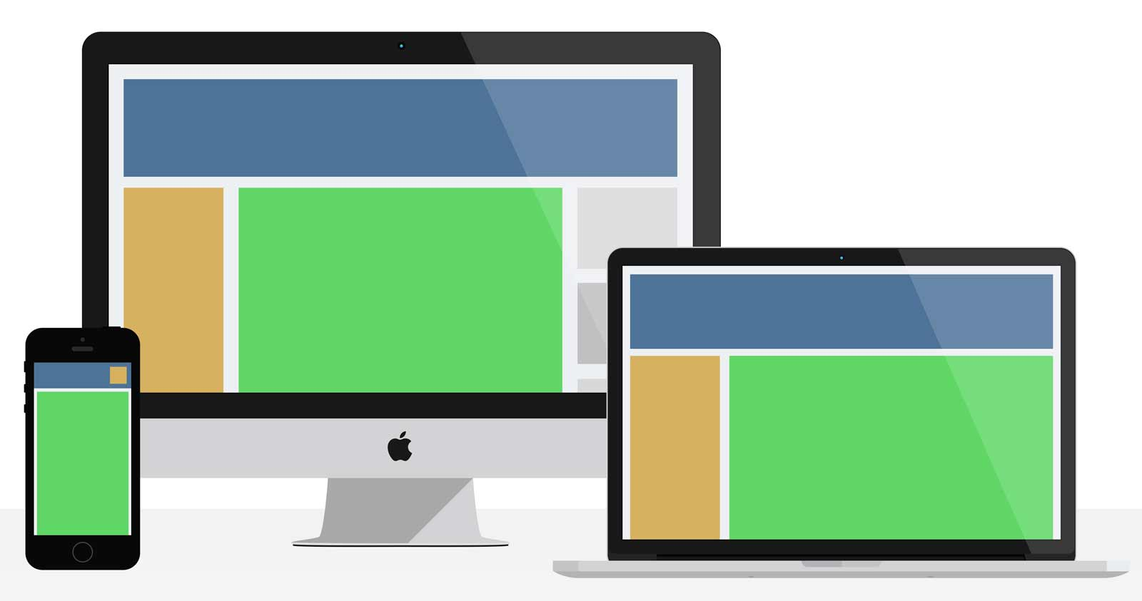 A diagramatical example of responsive design on a desktop computer, laptop and phone.