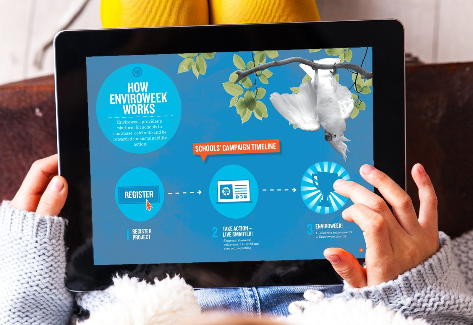 Enviroweek campaign design shown on ipad