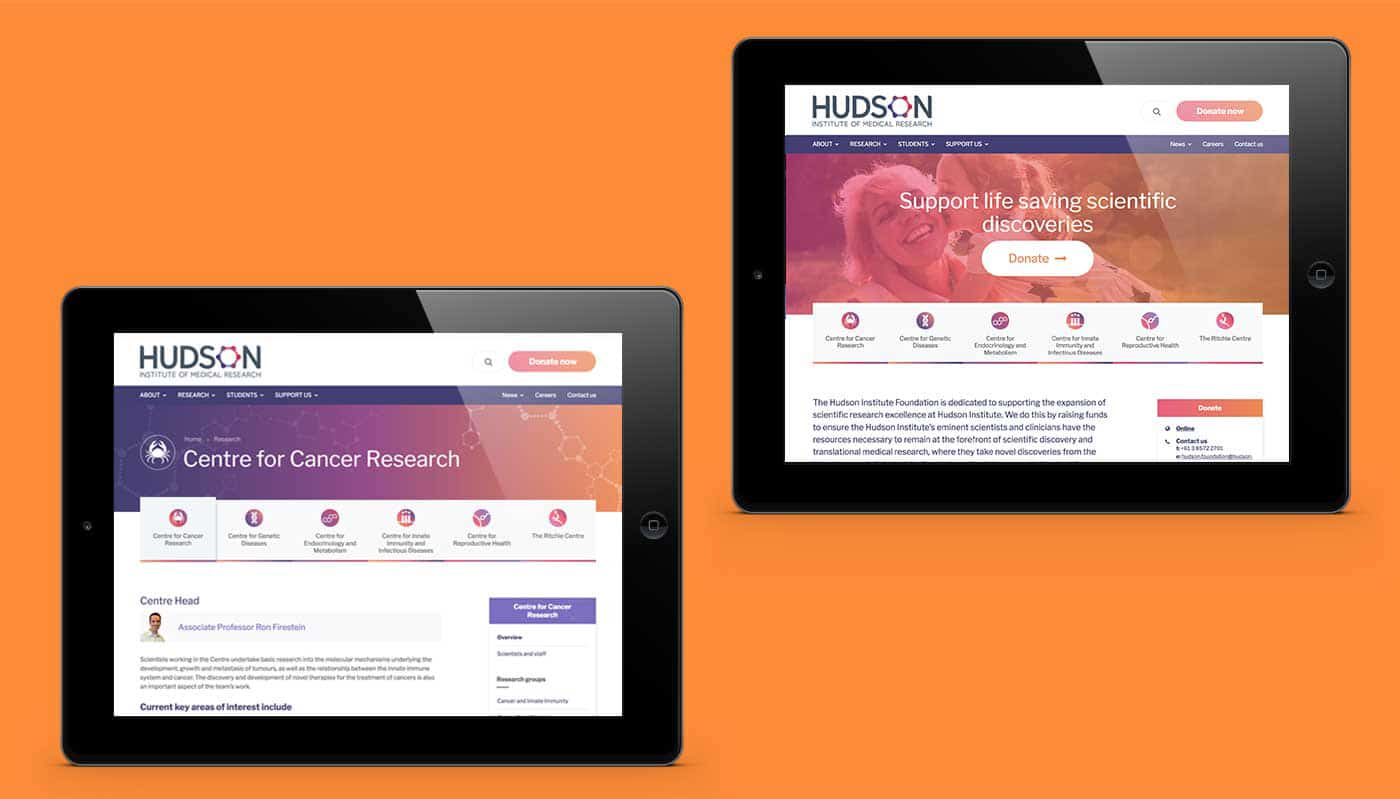 Hudson website shown on two ipads
