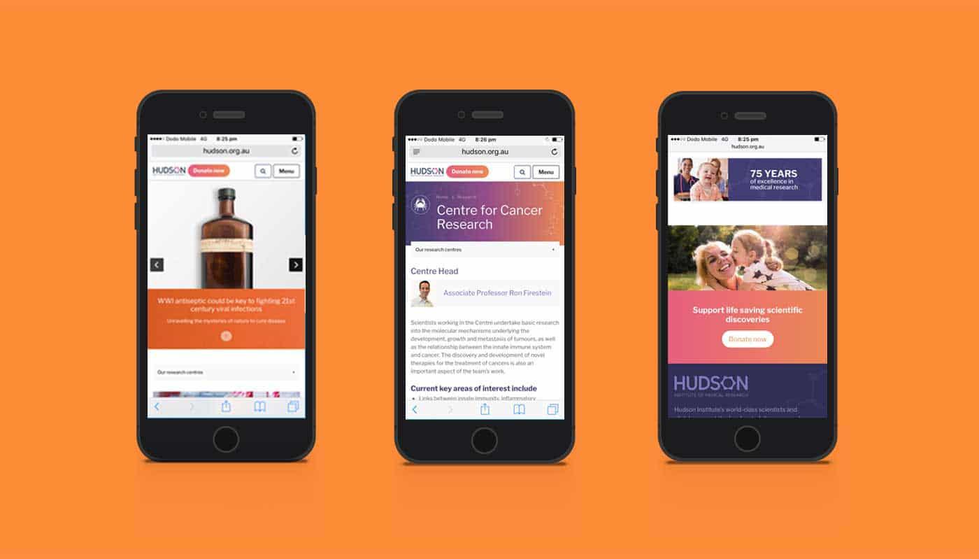 Hudson website shown on three mobile phone