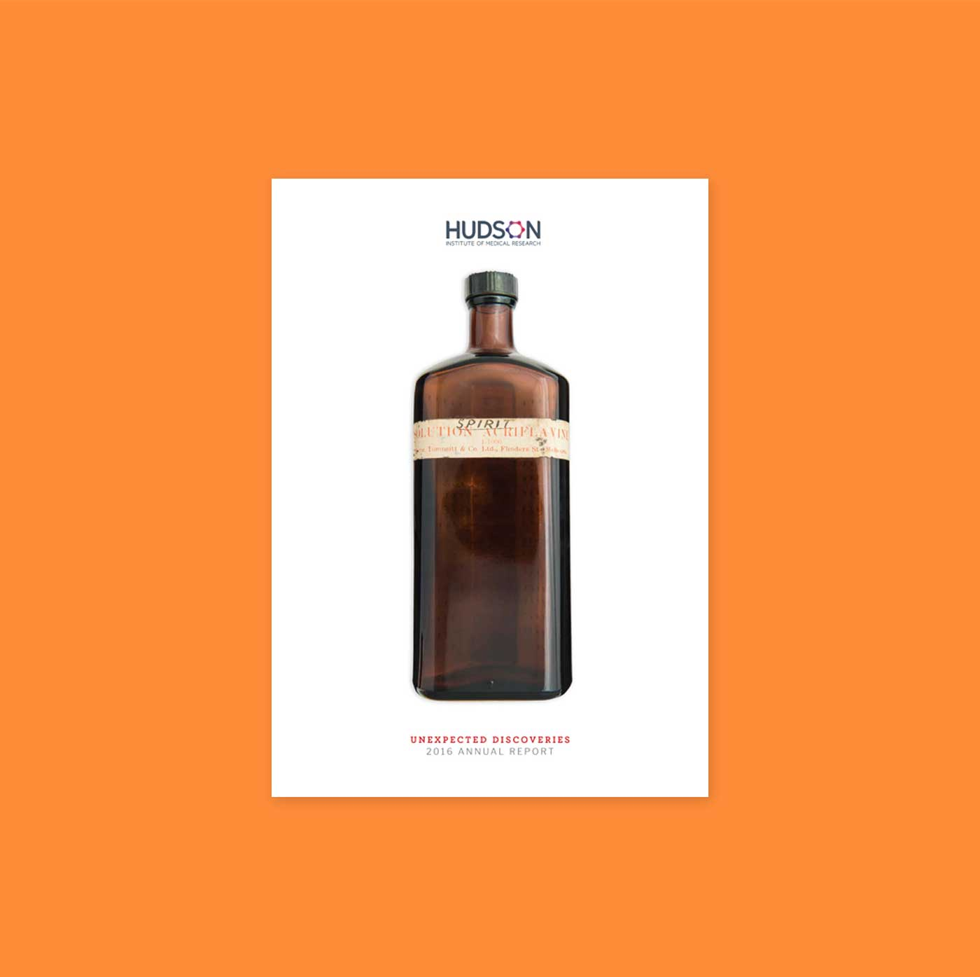 Hudson annual report cover showing old medical bottle