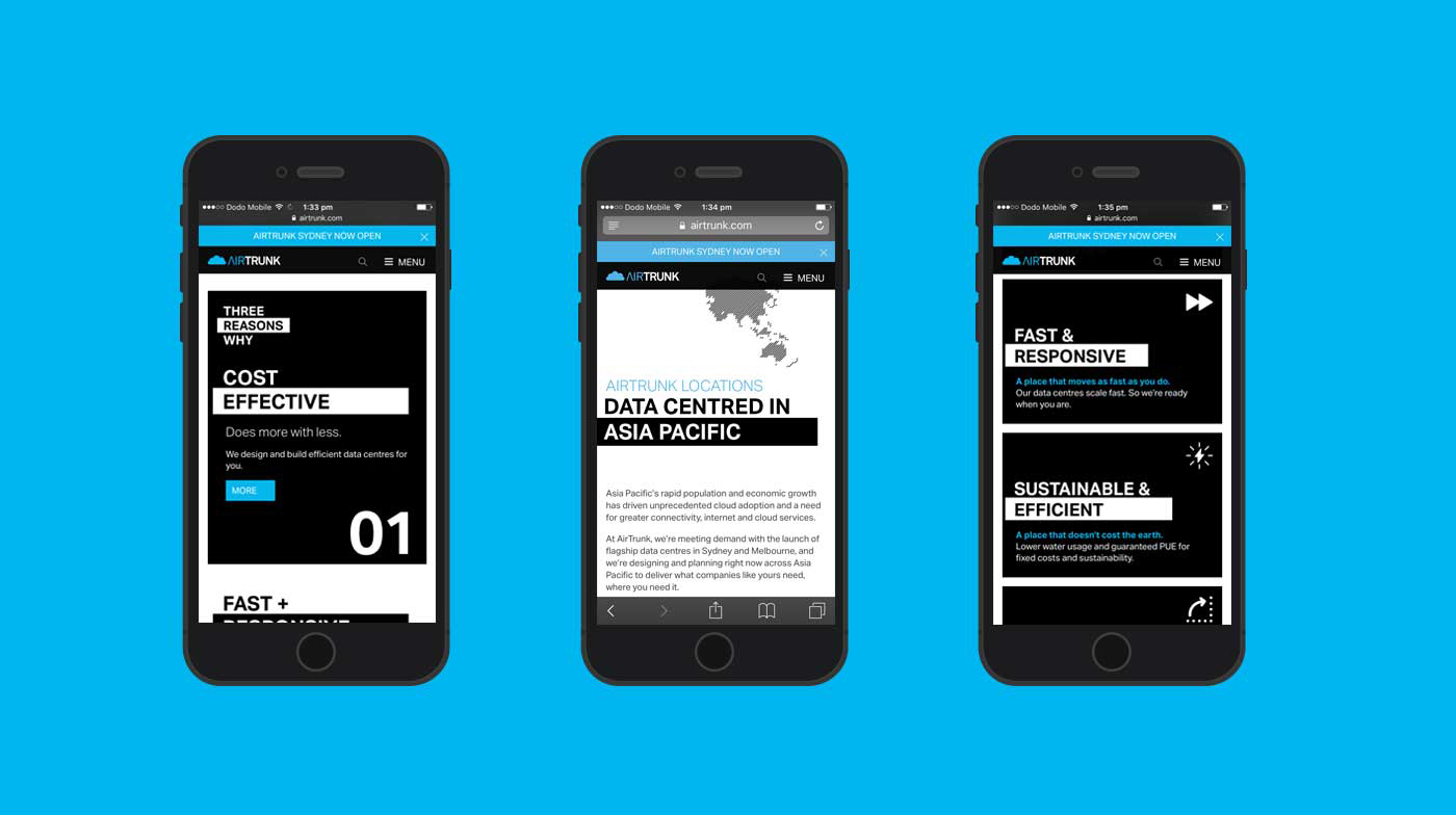 Airtrunk website on three mobile phones