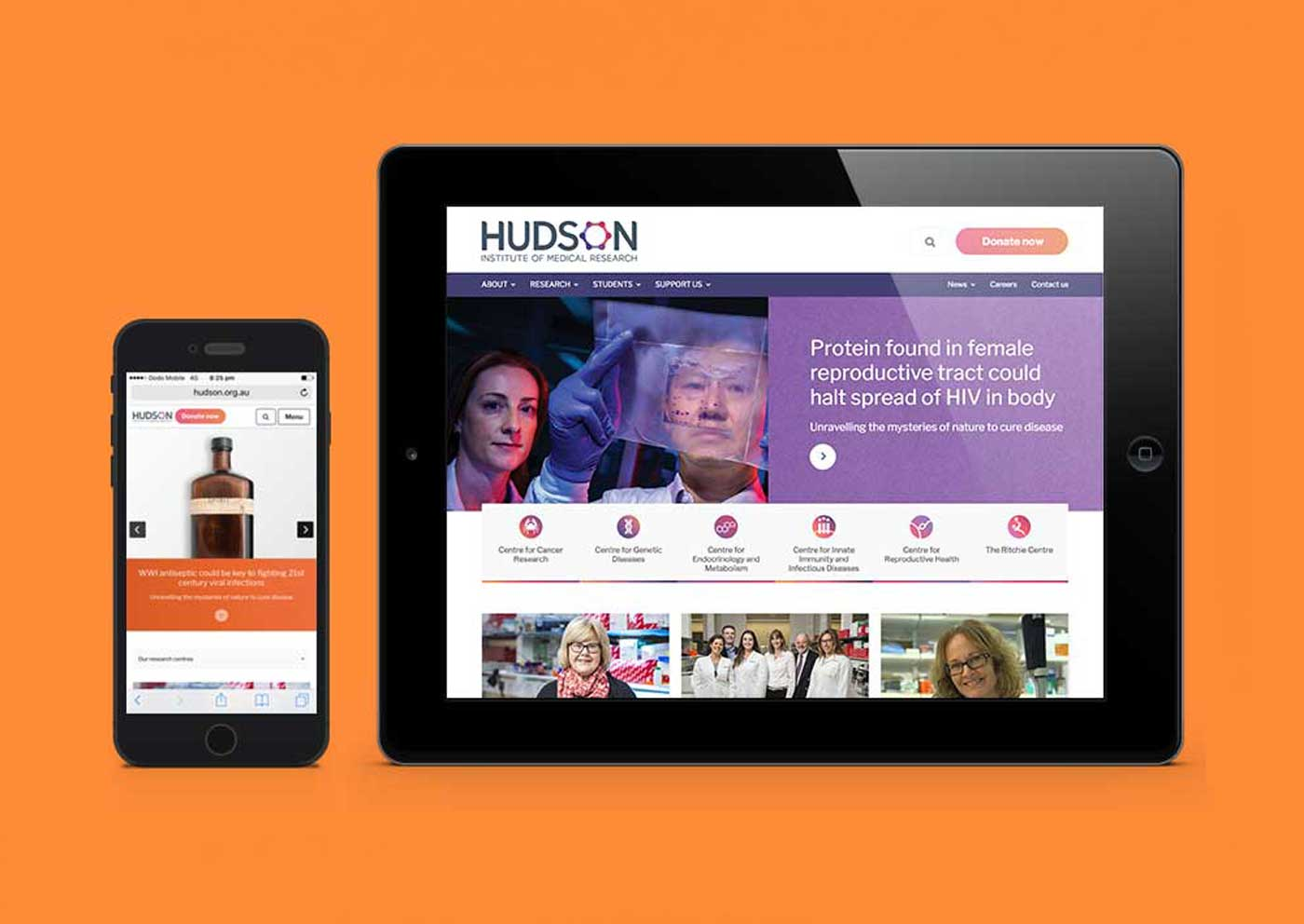 Hudson website on mobile and ipad