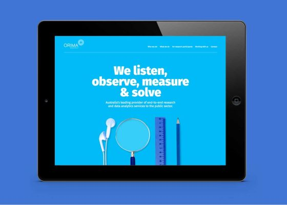 Orima website design on ipad