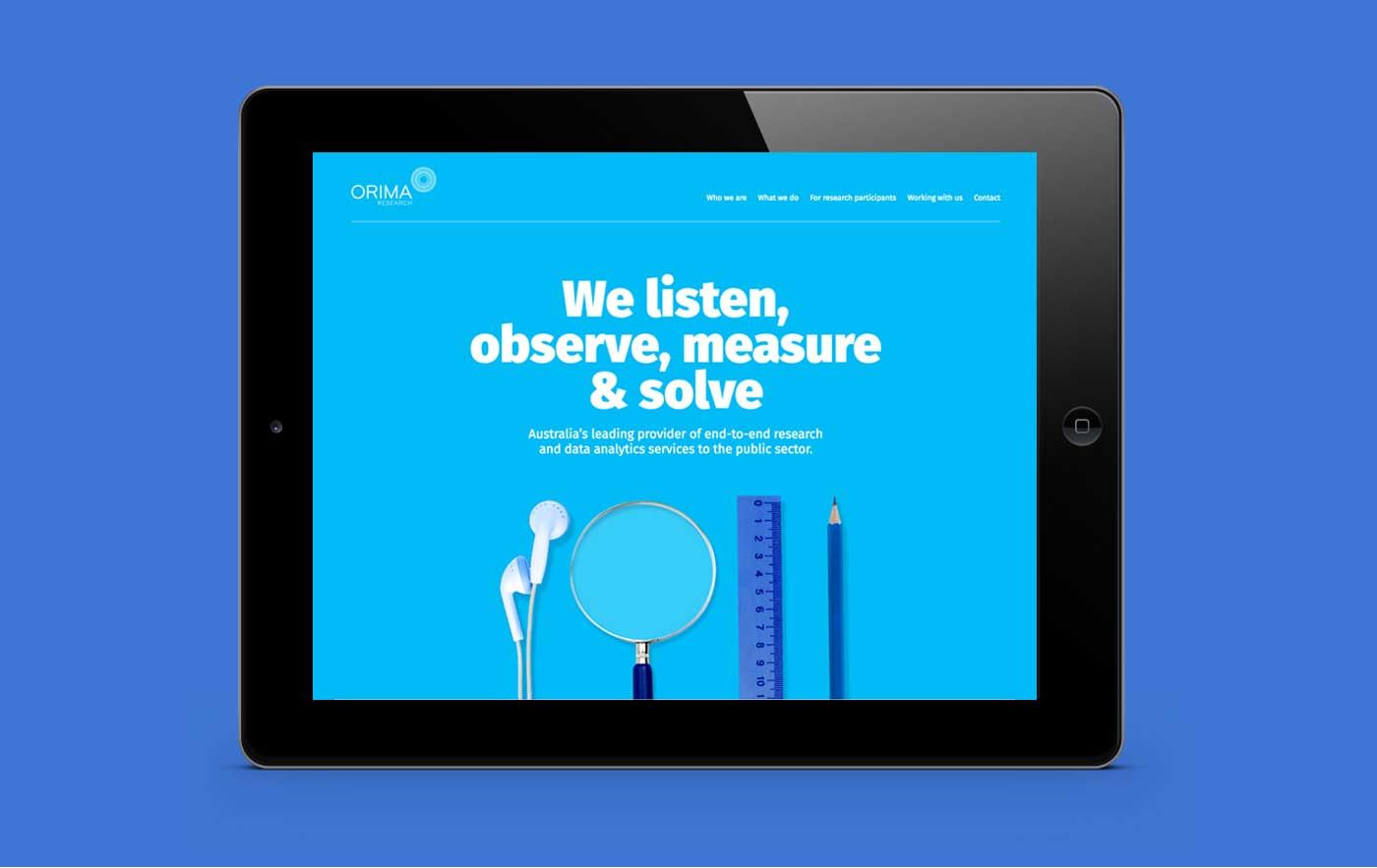 Orima website design on ipad