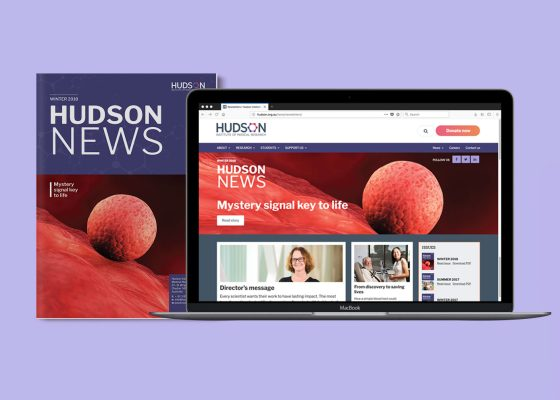Hudson Institue news print cover and laptop view