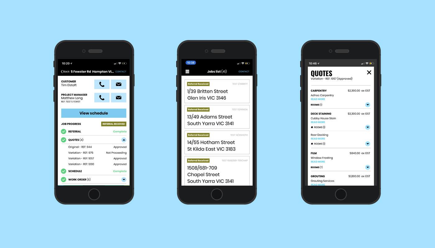 LVL Property tracker app on three mobile phones