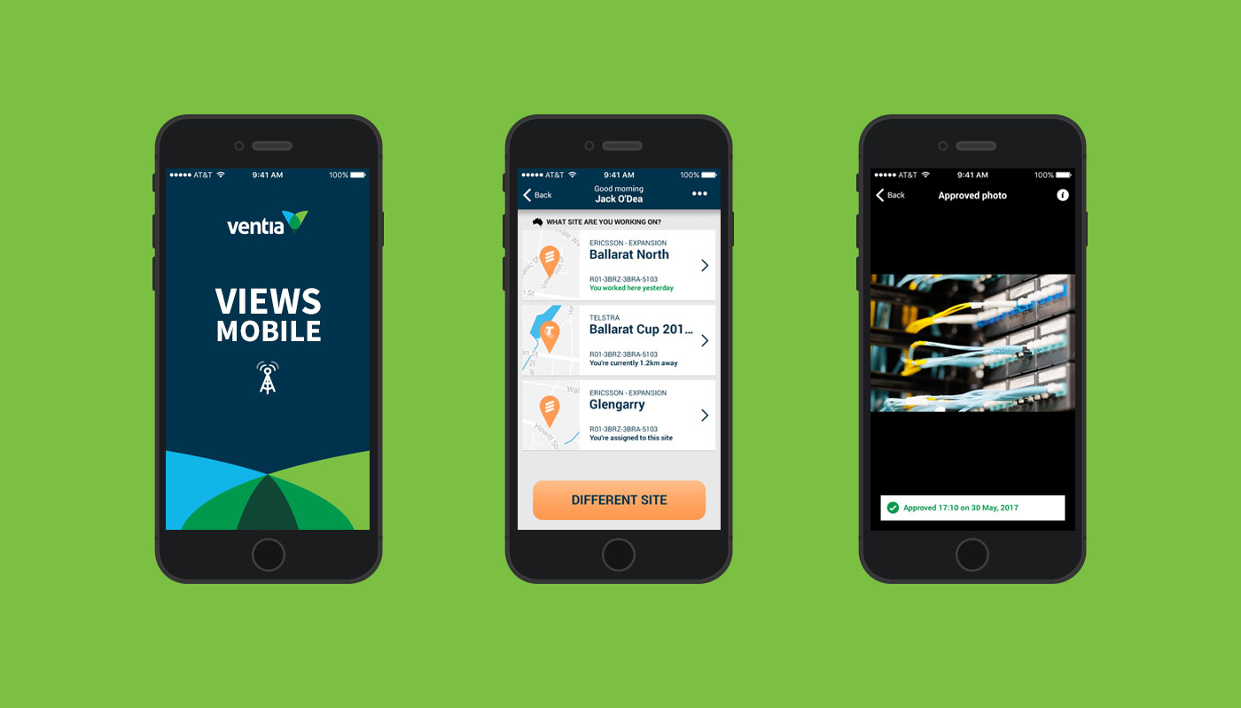 Views app on three mobile phones