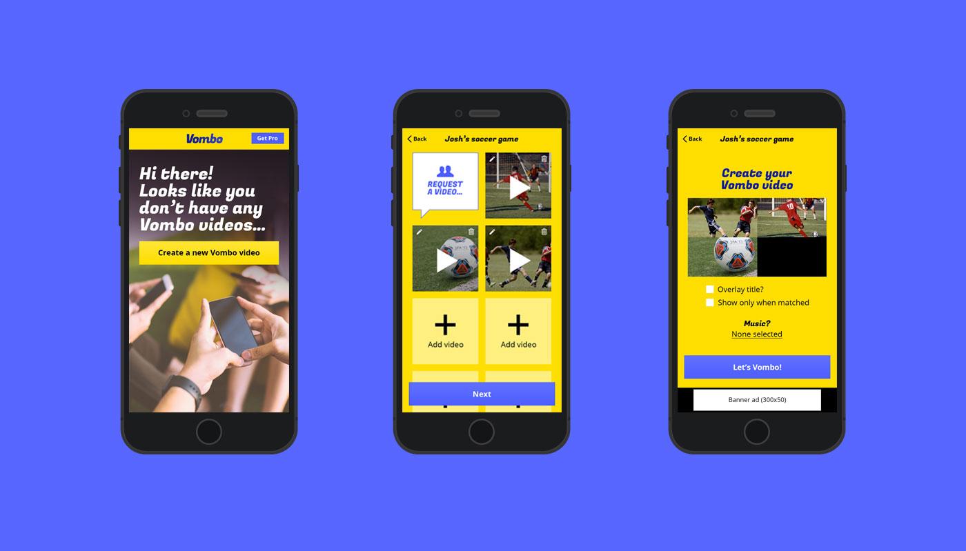 Vombo app on three mobile phones