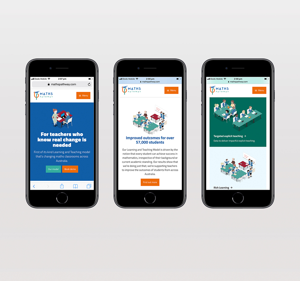 Maths Pathway website shown on three mobile phones