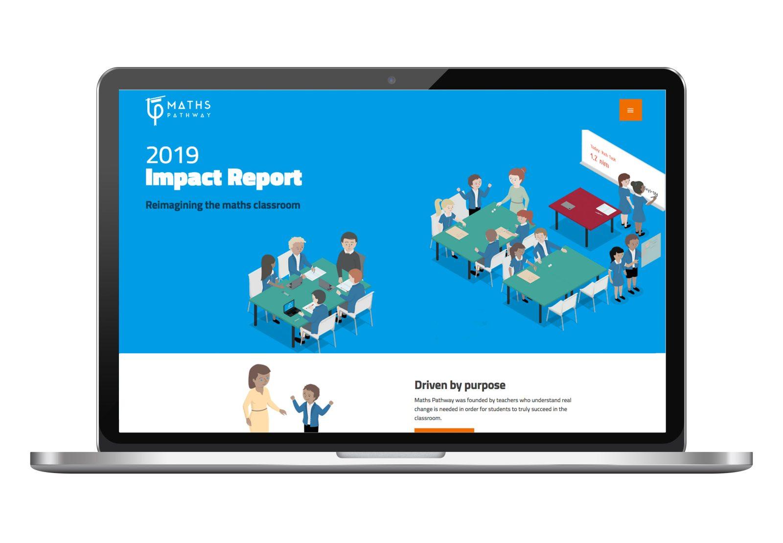 Maths Pathway Impact Report on laptop