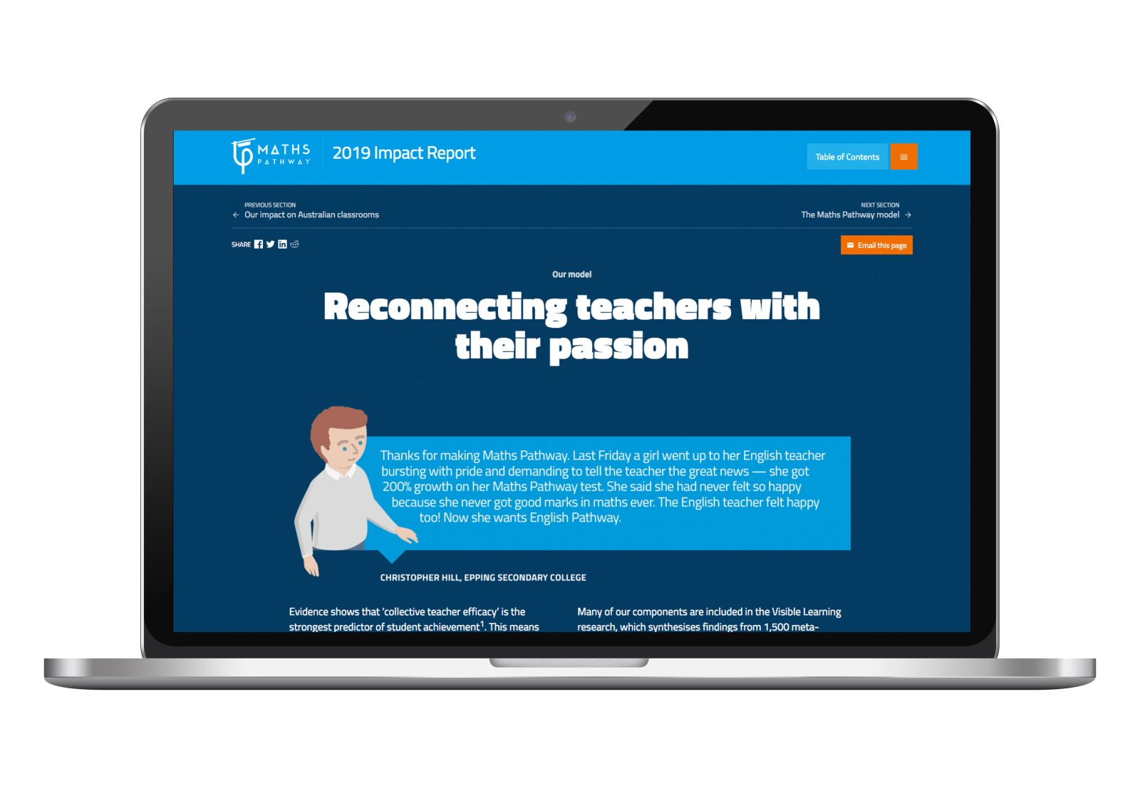 Laptop screen with Maths Pathway online annual report, reconnecting teacher page