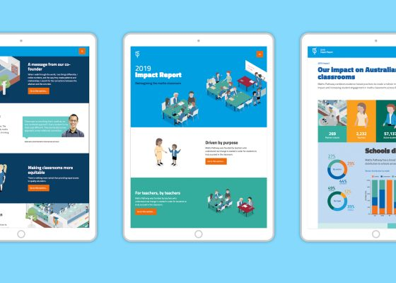 Three ipads showing Maths Pathway impact report