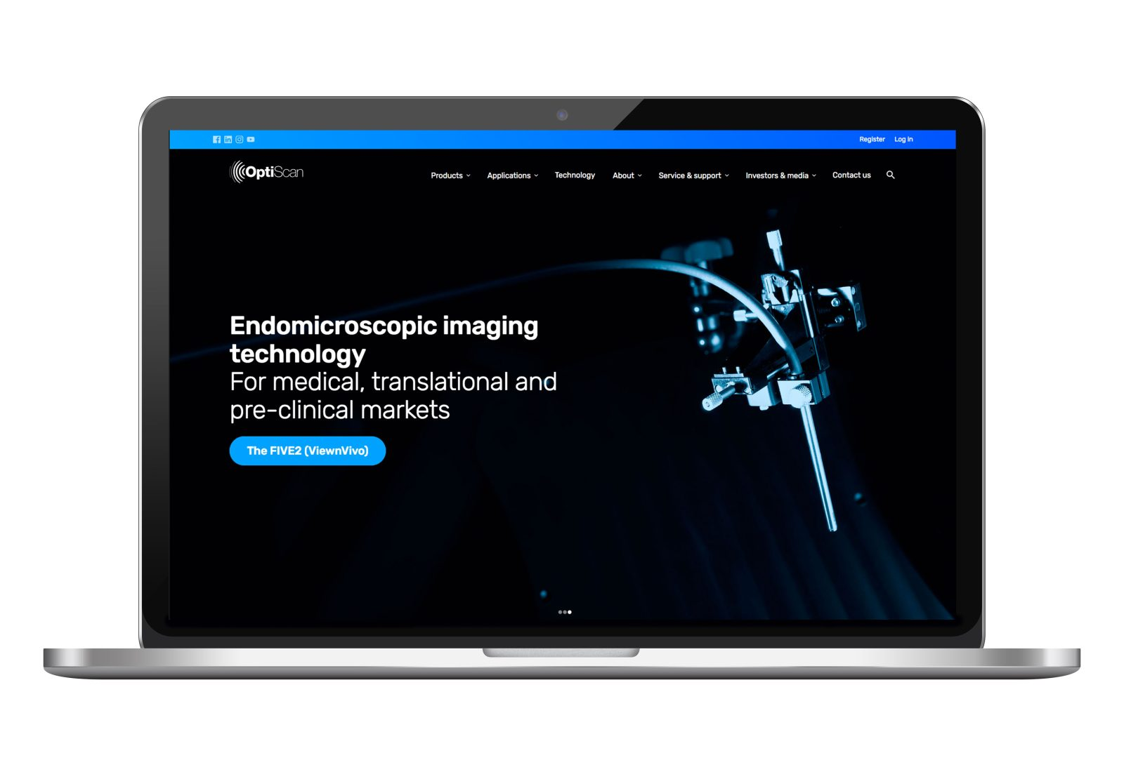 Optiscan website on laptop