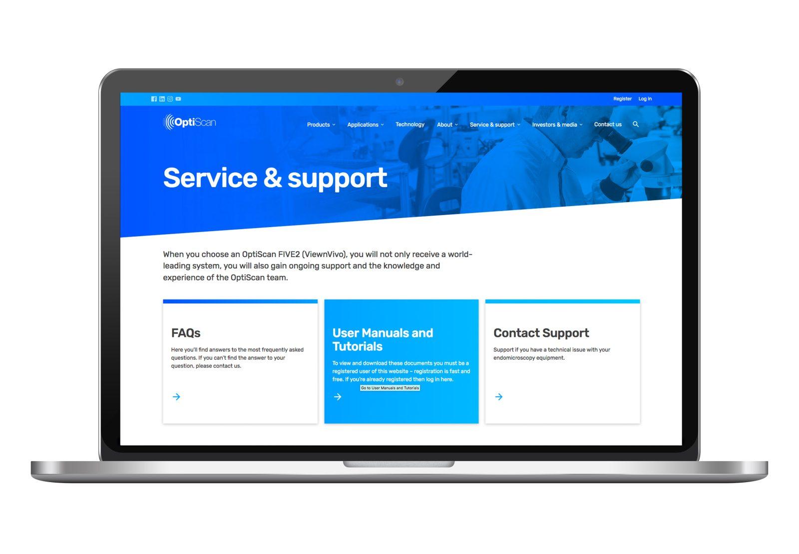 Optiscan service screen on laptop