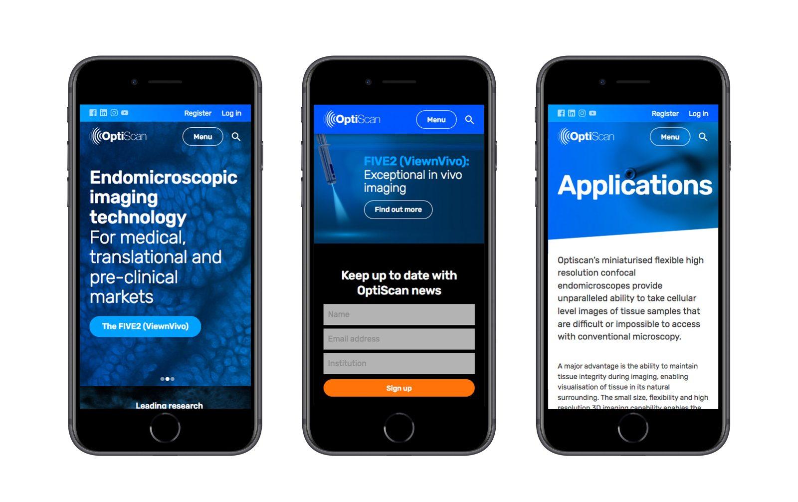 Optiscan website shown on three mobile phones