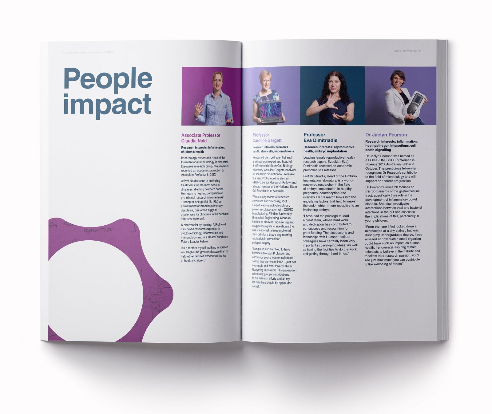 Hudson Institure annual report people impact spread