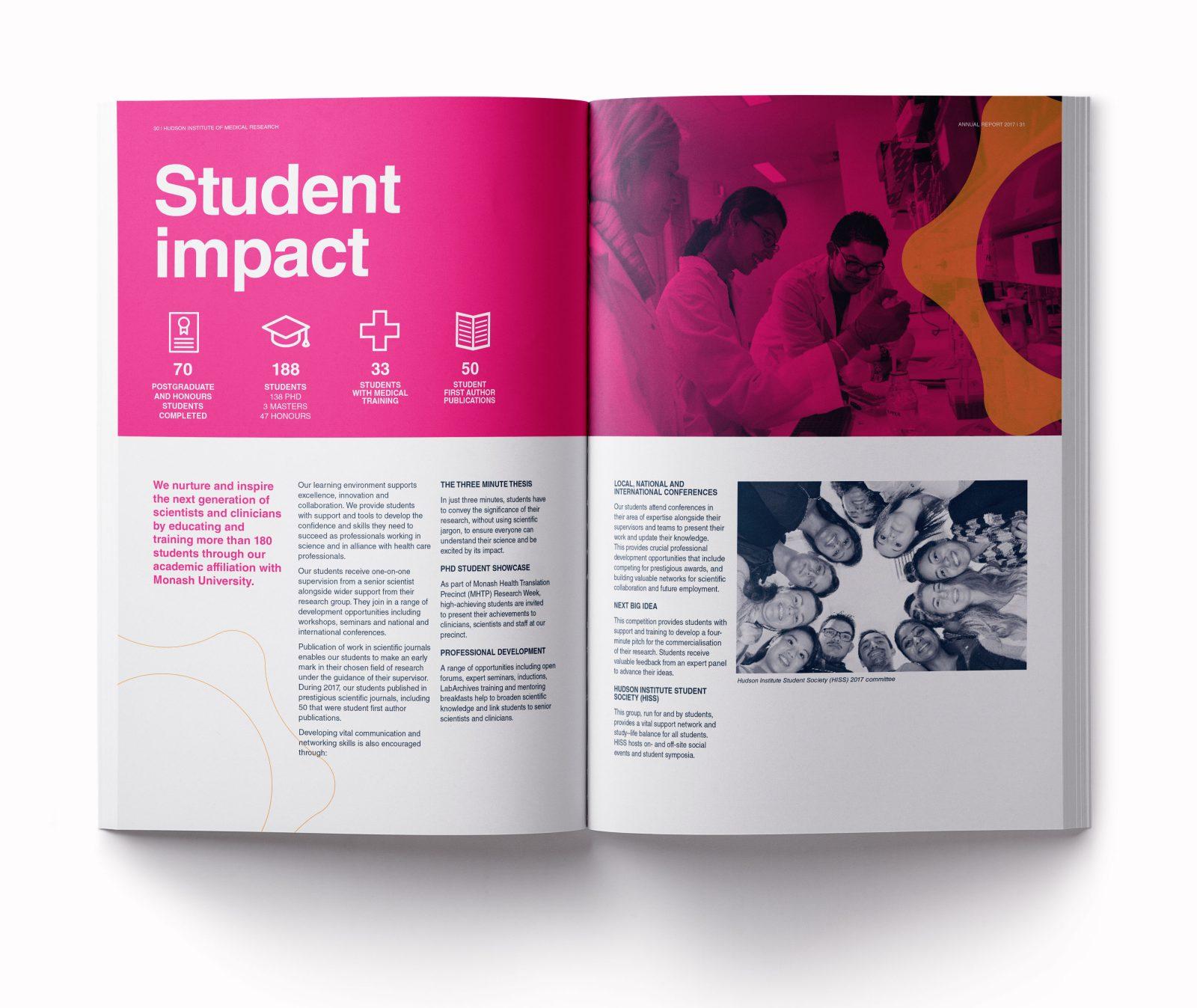 Hudson Institure annual report student impactspread