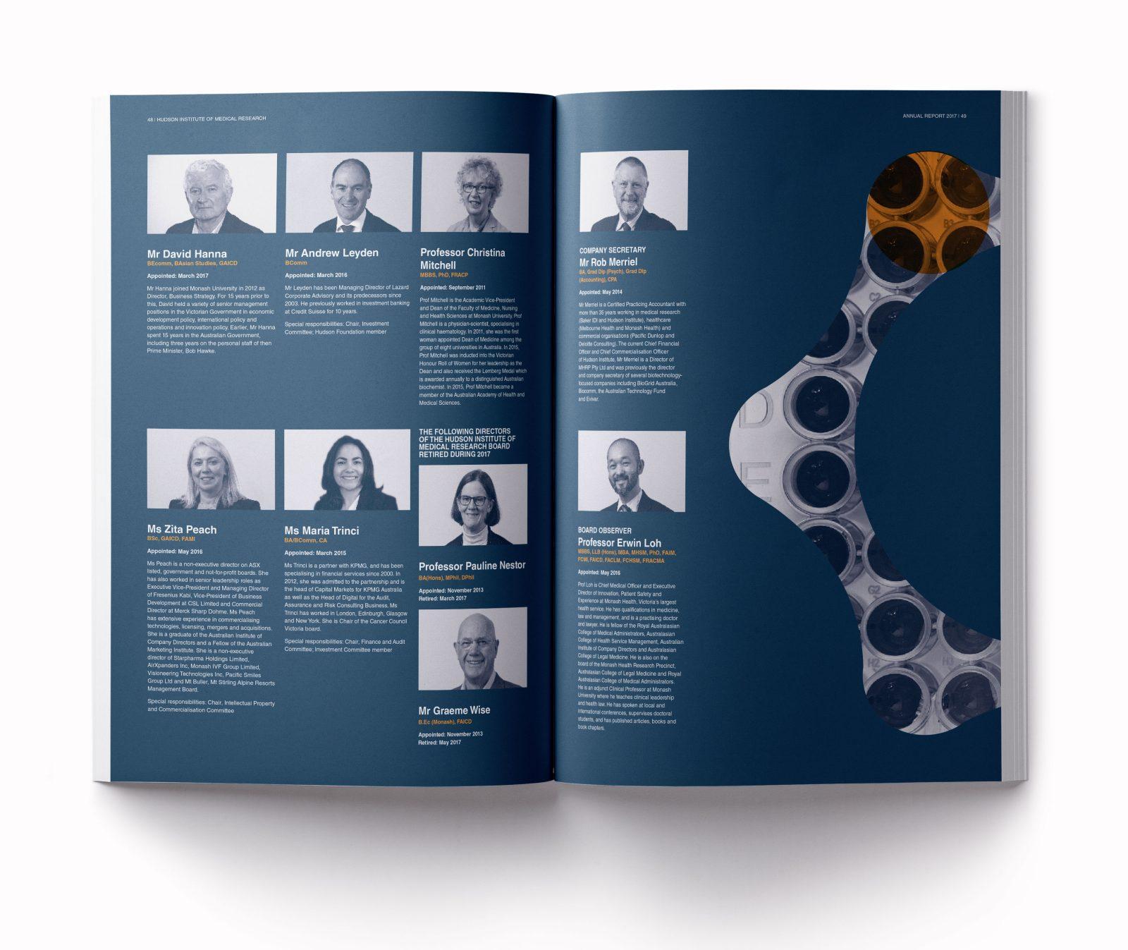 Hudson Institure annual report board spread