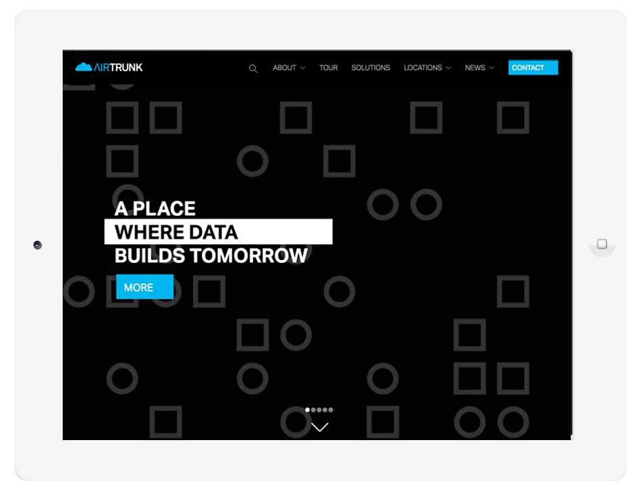 Airtrunk website shown on ipad
