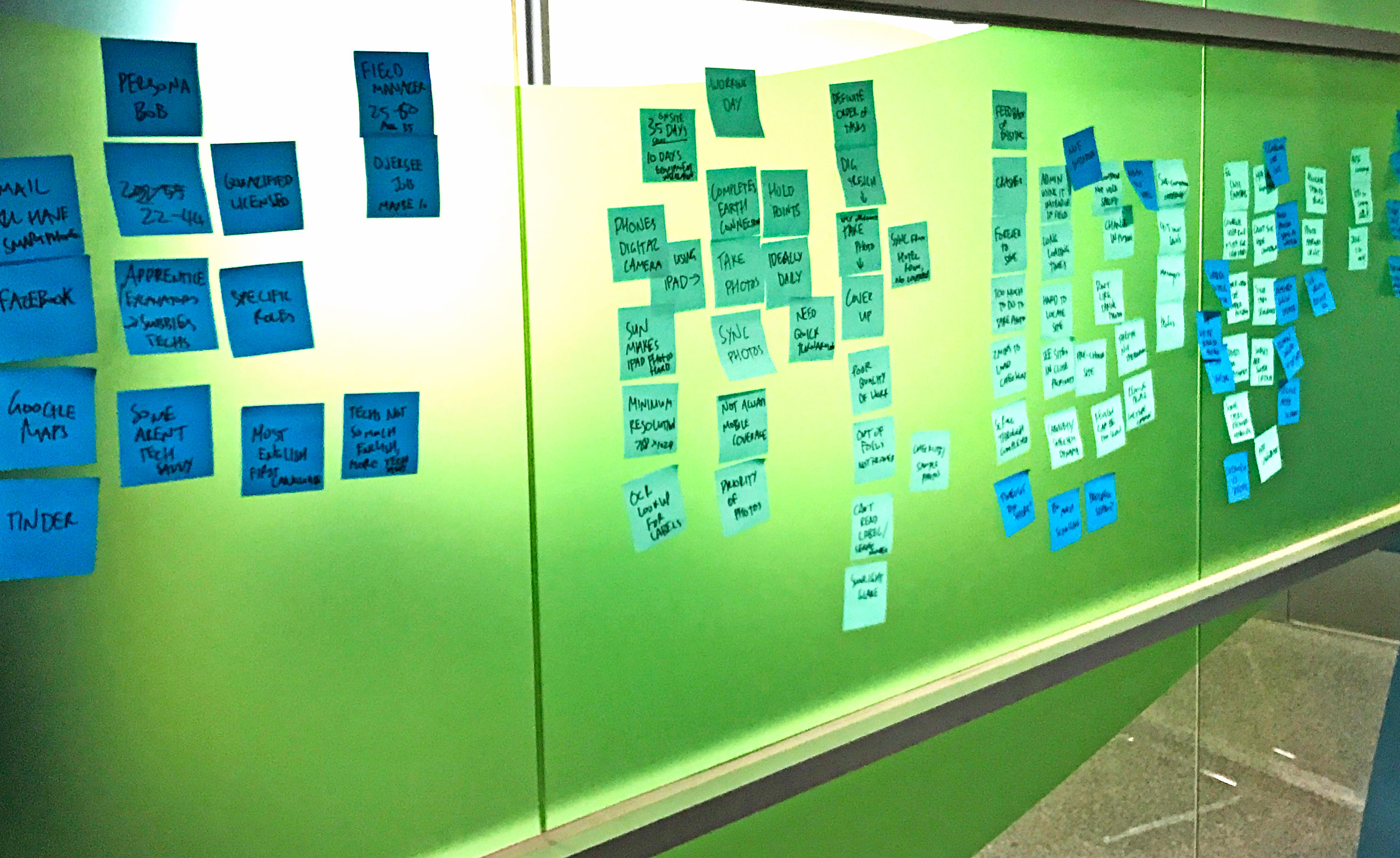 Post it notes on wall