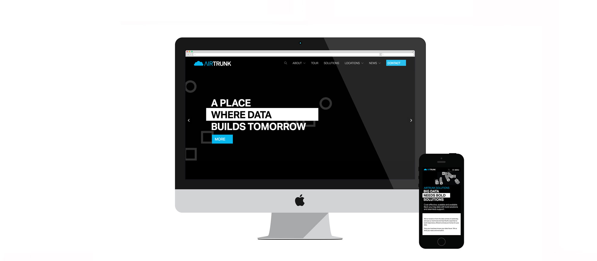 Desktop and mobile view of Airtrunk website design