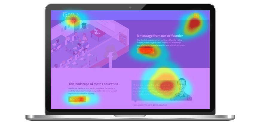 Laptop screen showing heatmap of website