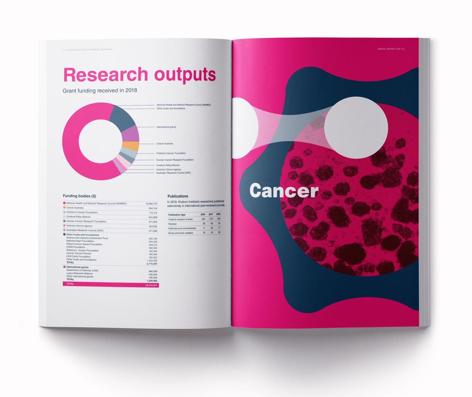 Hudson annual report 2018 Cancer cover spread