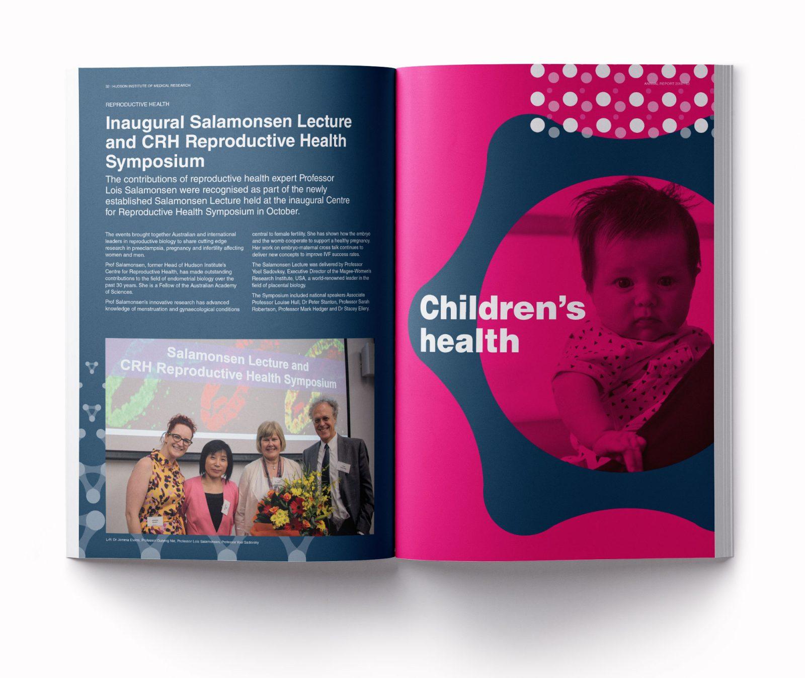 Hudson annual report 2018 Children's health cover spread