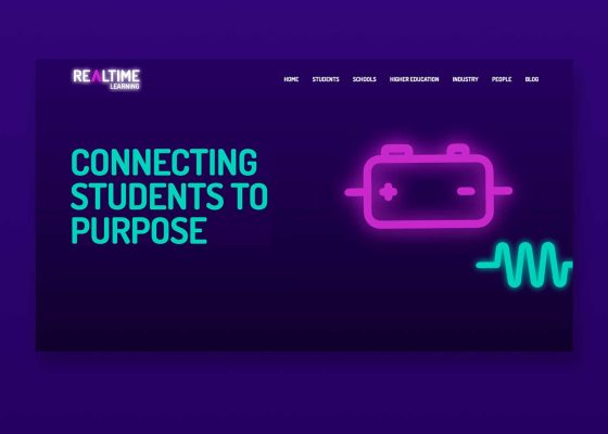Realtime Learning home page on purpl background
