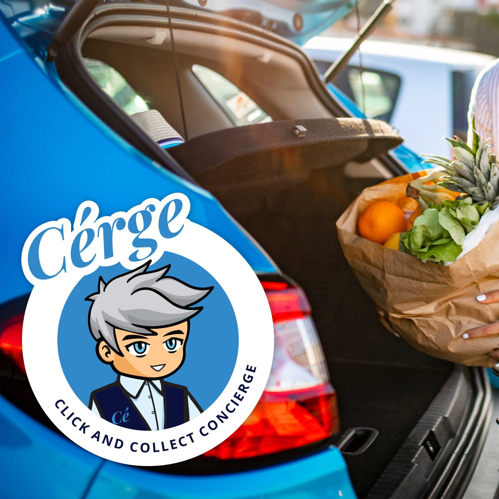 Blue car, boot open being filled with groceries
