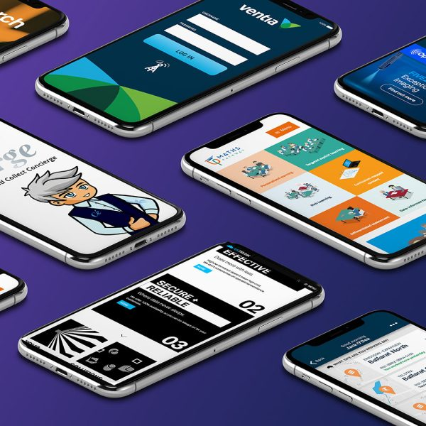 Multiple smartphones mock-ups showing different website design