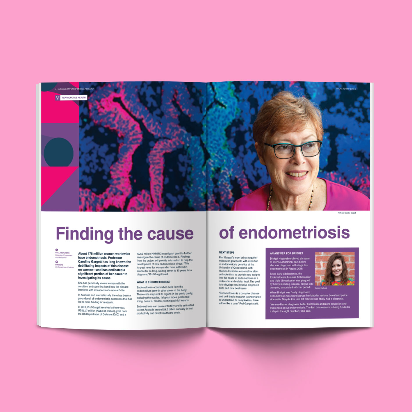 Inside spread featuring Dr Carolyn Garrett of 2019 Hudson Institute Annual Report