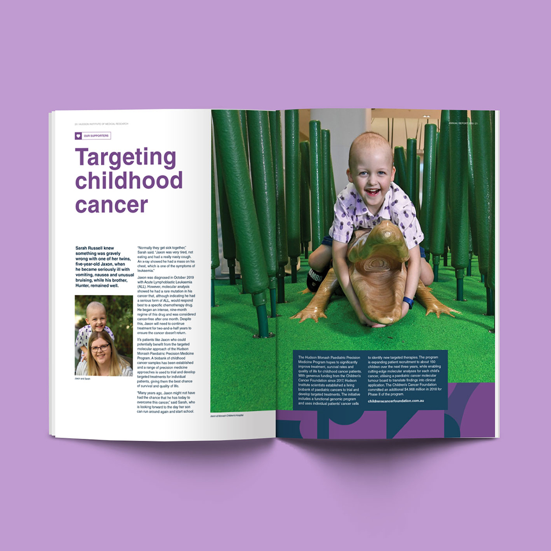 Inside spread featuring young boy 2019 Hudson Institute Annual Report