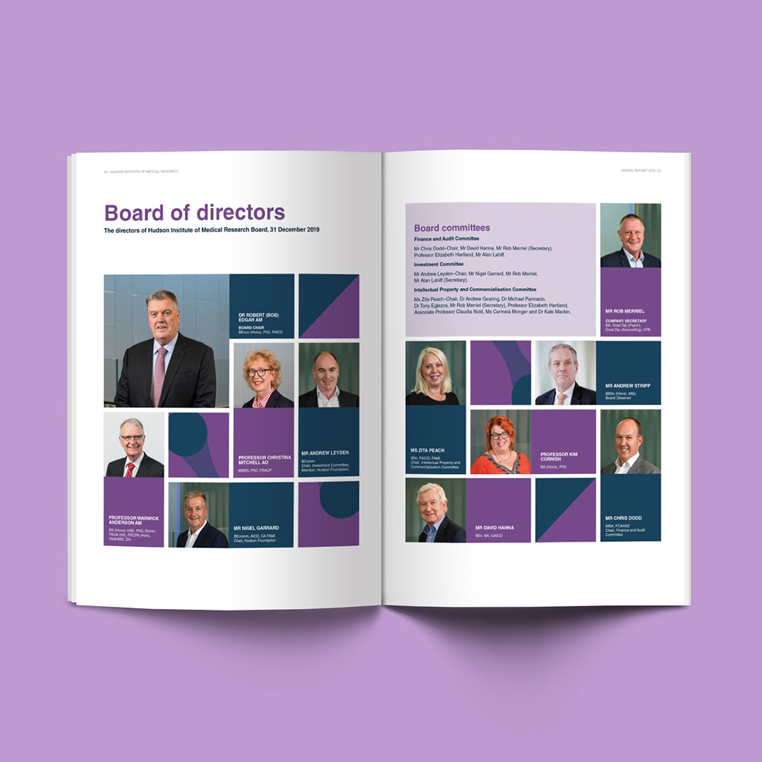 Inside spread featuring the board of directors Dr Carolyn Garrett of 2019 Hudson Institute Annual Report