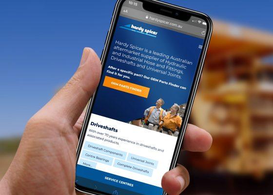 Hardy Spicer website on a mobile device